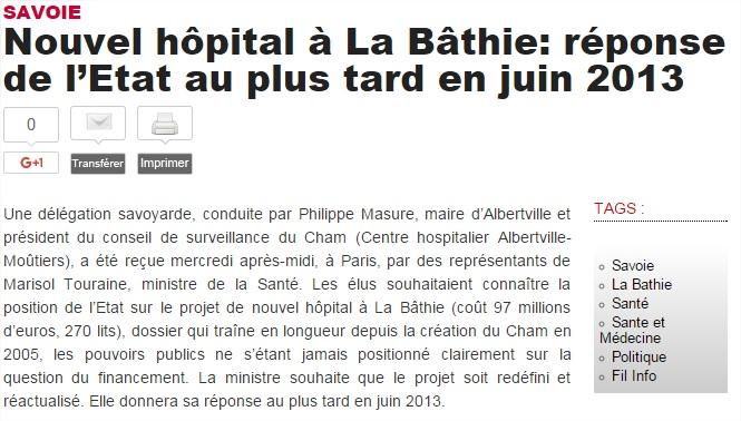 2012-10-17 - Le DL - Nouvel hôpital à La Bâthie - réponse de l'Etat au plus tard en juin 2013