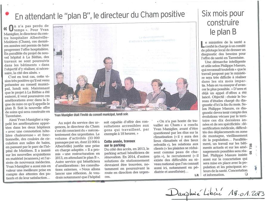 2013-01-18 - Le DL - En attendant le plan B, le directeur du CHAM positive