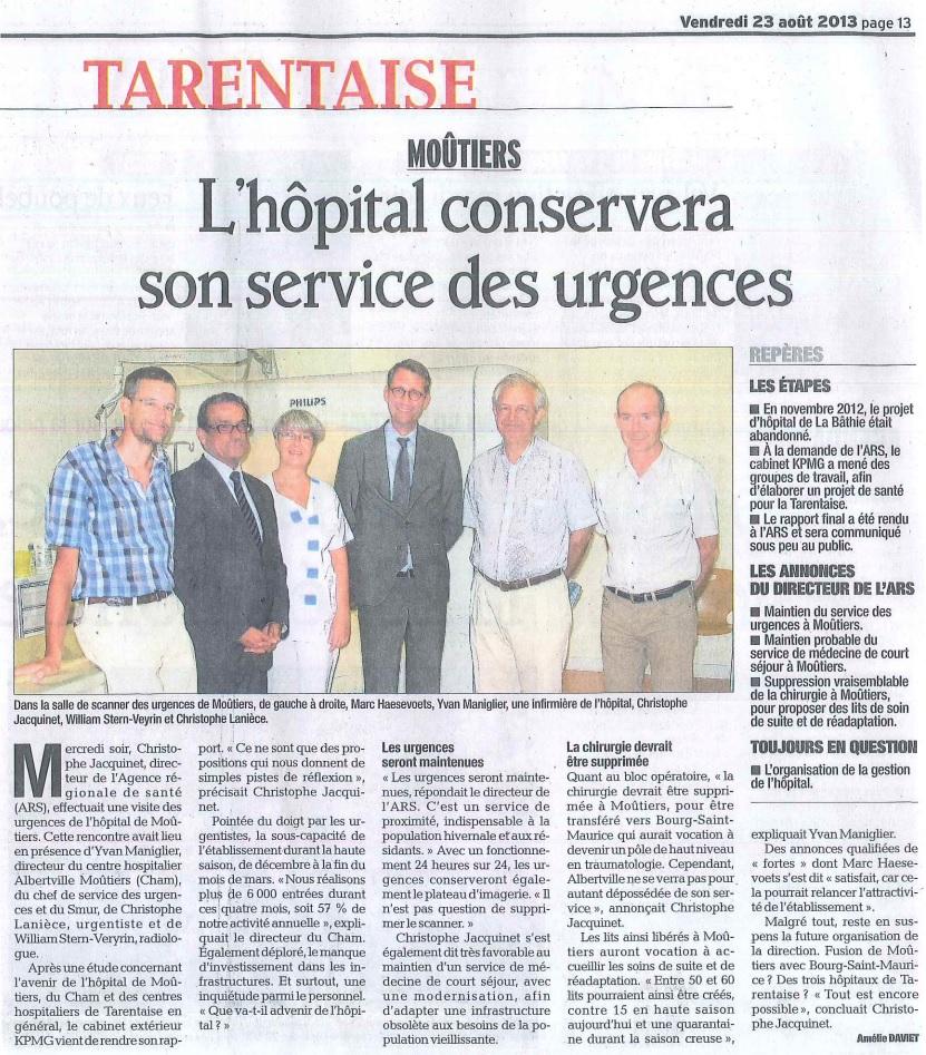 2013-08-23 - Le DL - L'hôpital conservera son service des urgences