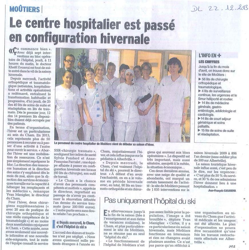 2013-12-22 - Le DL - Le centre hospitalier est passé en configuration hivernale
