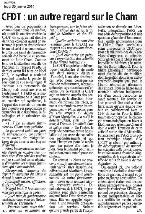 2014-01-30 - La Savoie - CFDT - un autre regard sur le CHAM