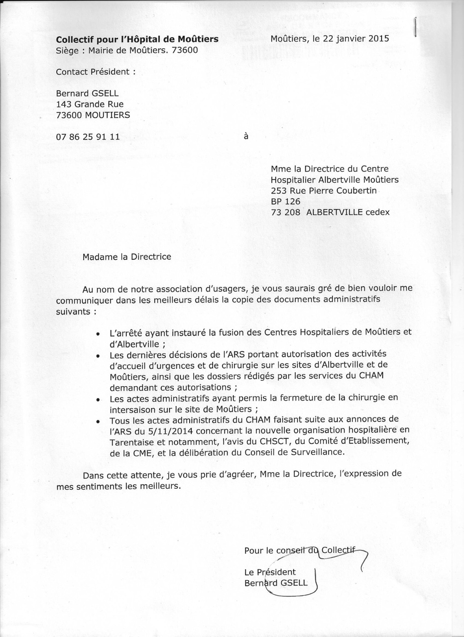 2015-01-22 - courrier à direction du CHAM 22janv2015