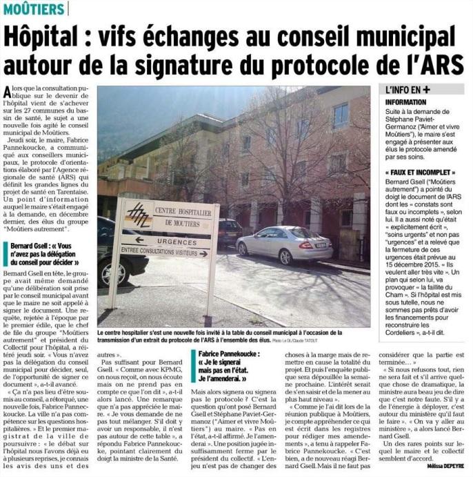 2015-03-25 - Le DL - Vifs échanges au conseil municipal autour de la signature du protocole de l'ARS