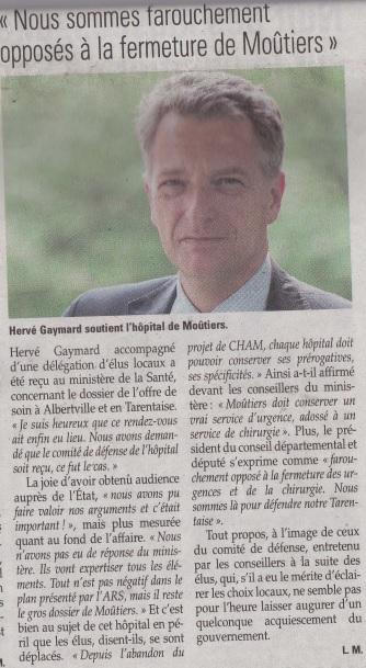 2015-05-21 - La Savoie - Gaymard, farouchement opposé à la fermeture de Moutiers