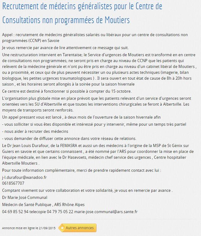 2015-09-21 - Annonce recrutements - Conseil Départemental de l'Ordre des Médecins de Savoie