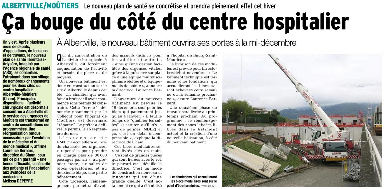 2015-10-15 - Le DL - Ca bouge du côté du centre hospitalier