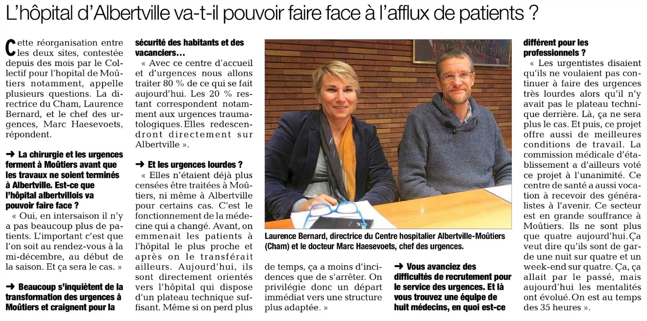 2015-10-15 - Le DL - L'hôpital d'Albertville pourra-t-il faire face à l'afflux de patients