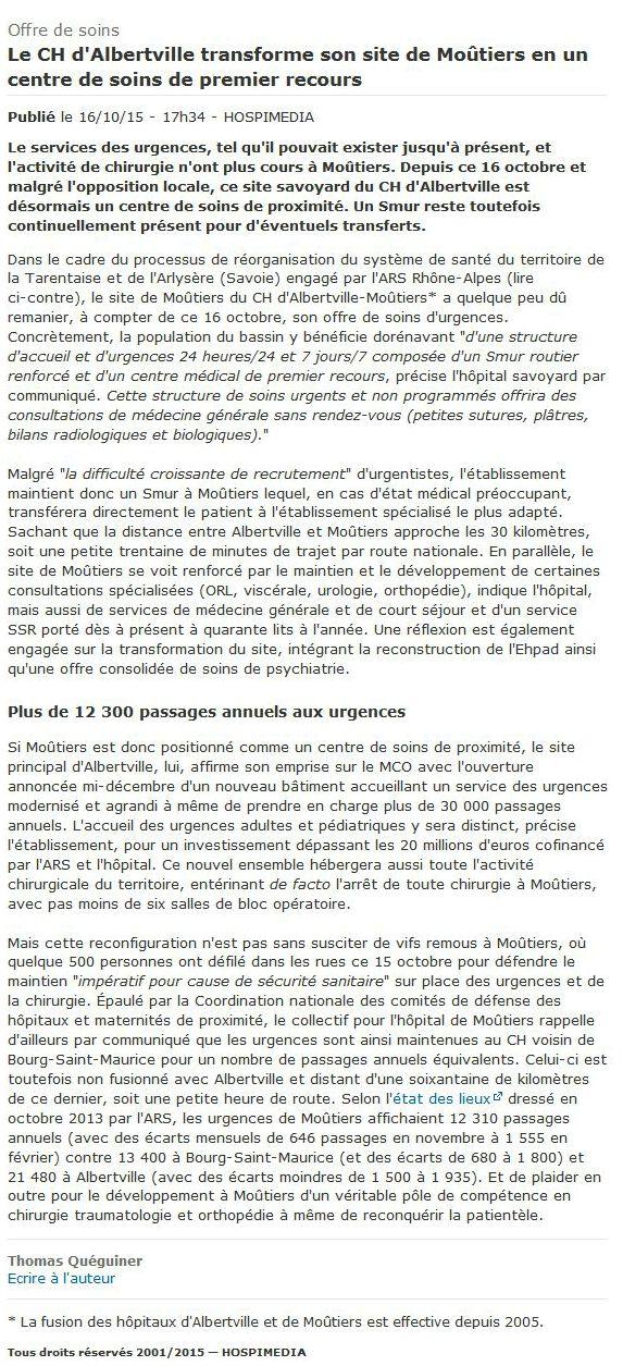 2015-10-16 - Offre de soins — Le CH d'Albertville transforme son site de Moûtier... - HOSPIMEDIA 2015-10-27 10-39-52_article_seul