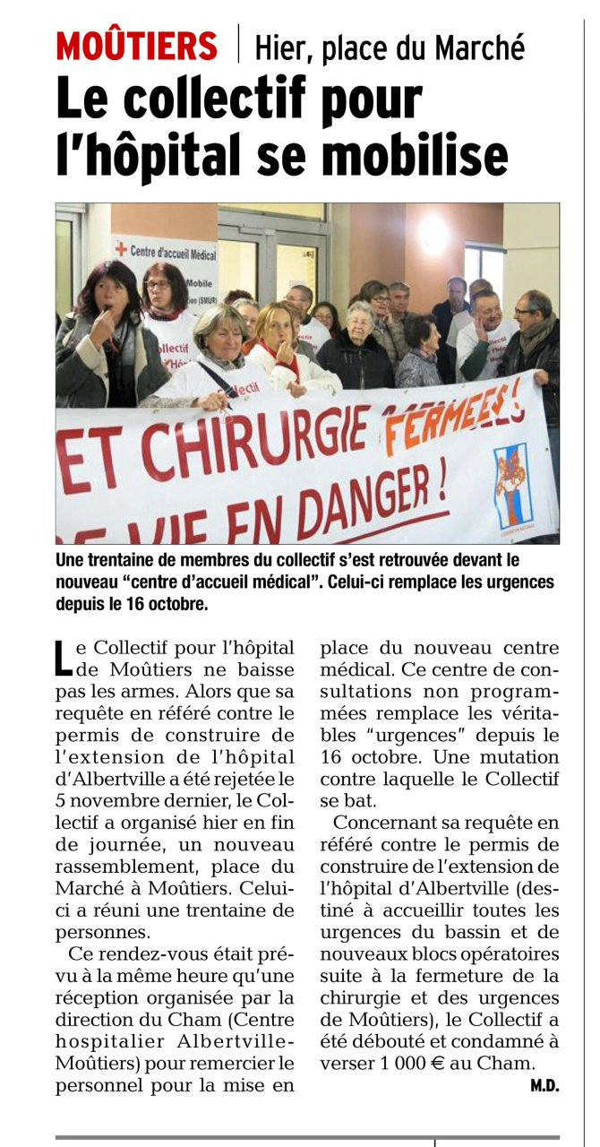 2015-11-10 - Le DL - Le collectif pour l'hôpital se mobilise