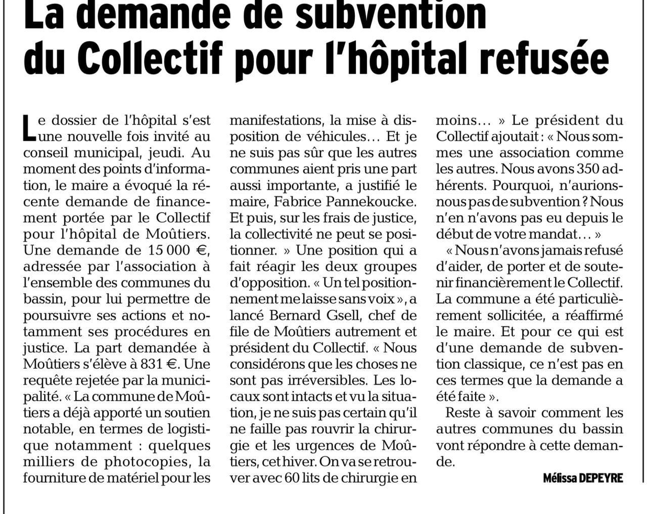 2015-11-23 - DL - La demande de subvention du Collectif pour l'hôpital refusé