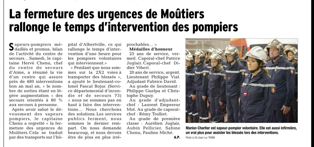 2015-12-01 - DL - La fermeture des urgences de Moutiers rallonge le temps d'intervention des pompiers