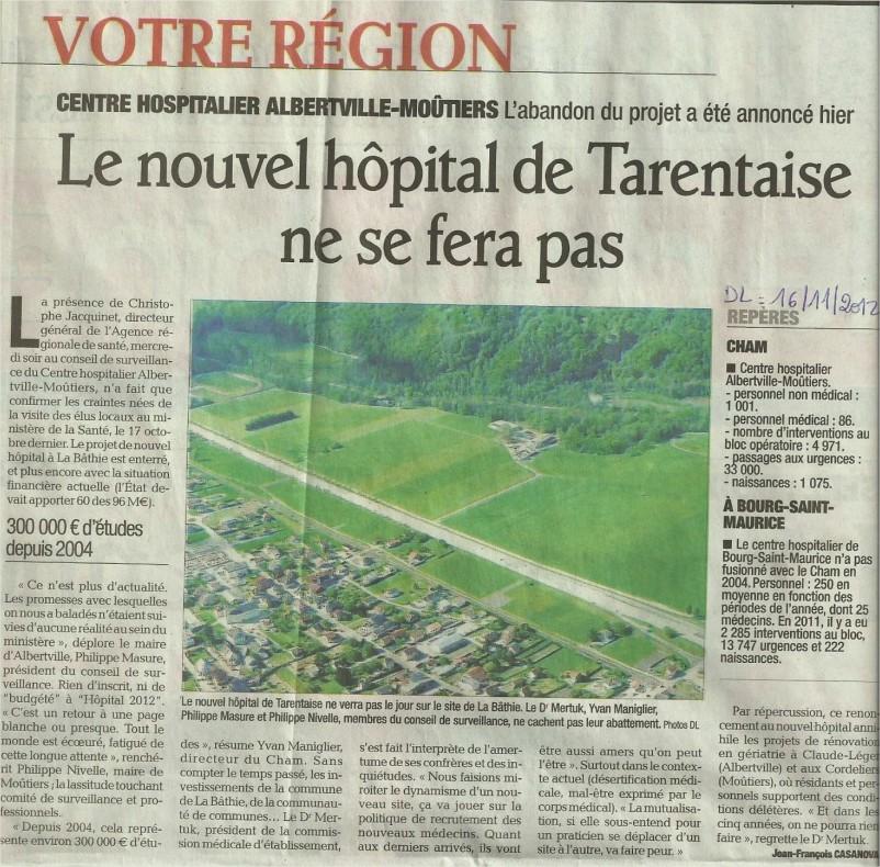 2012-11-16 - Le DL - Le nouvel hôpital de Tarentaise ne se fera pas