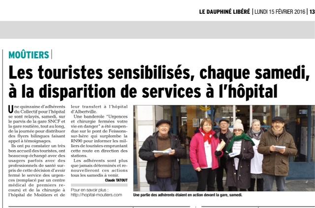 2016-02-15 - DL - Les touristes sensibilisés chaque samedi à la disparition de services à l'hôpital