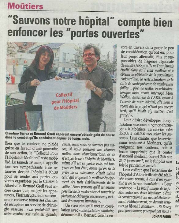 2016-03-17 - La Savoie - Sauvons notre hôpital compte bien enfoncer les portes ouvertes