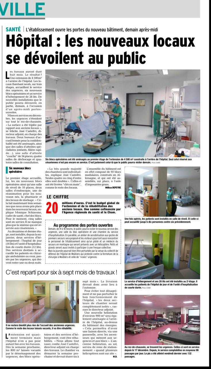 2016-03-18 - Le DL - Hôpital - les nouveaux locaux se dévoilent au public