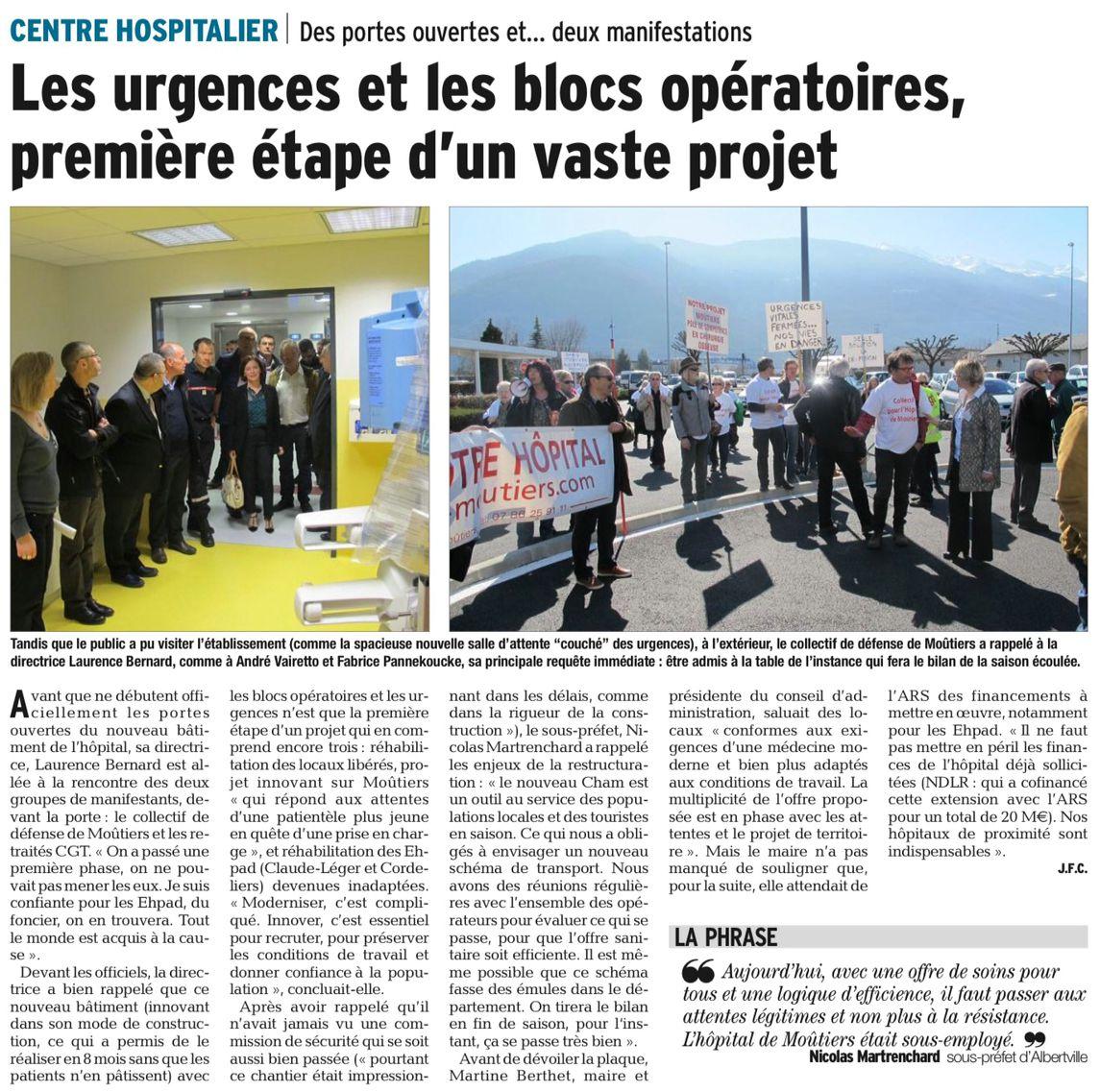 2016-04-01 - Des portes ouvertes et deux manifestations - Les urgences et les blocs opératoires, première étape d'un vaste projet