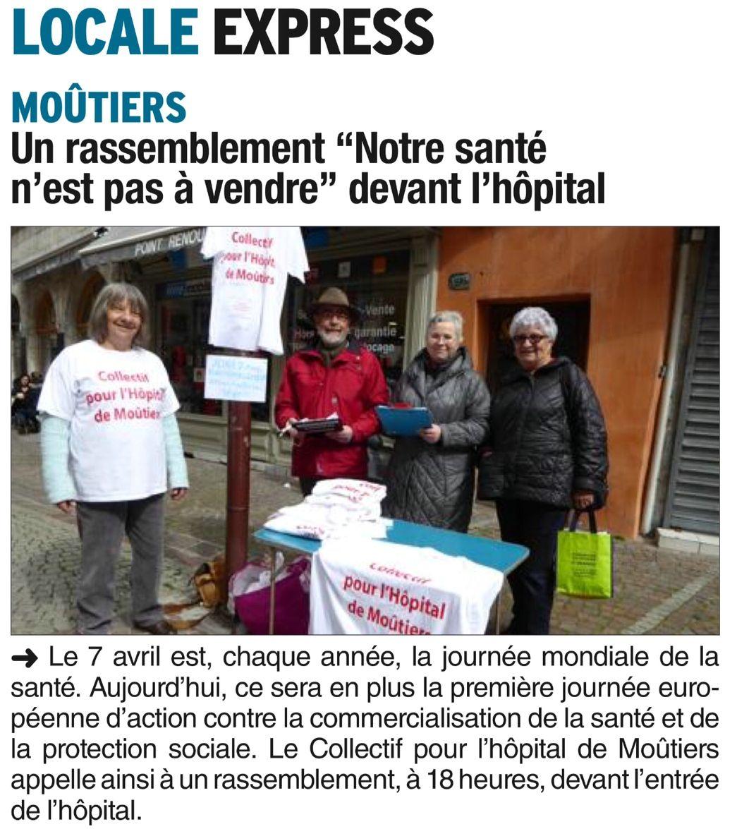 2016-04-07 - Le DL - Un rassemblement -Notre santé n'est pas à vendre- devant l'hôpital
