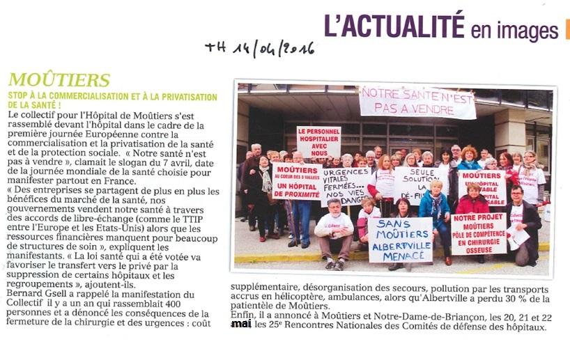 2016-04-14 - Tarentaise Hebdo - Stop à la commercialisation et à la privatisation de la santé
