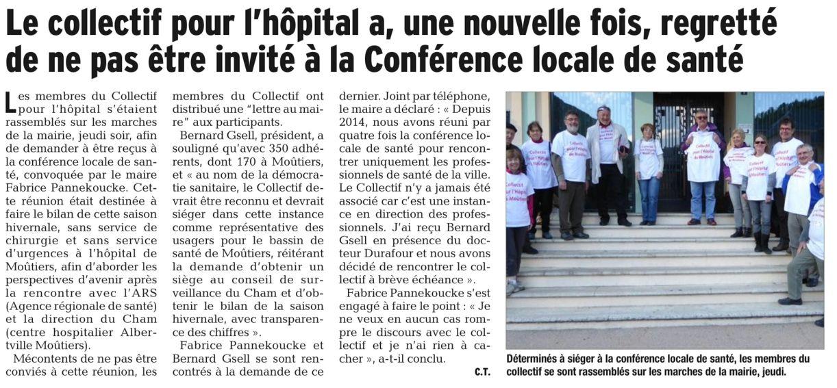 2016-05-02 - Le DL - Le collectif pour l'hôpital a, une nouvelle fois, regretté de ne pas être invité à la Conférence locale de santé