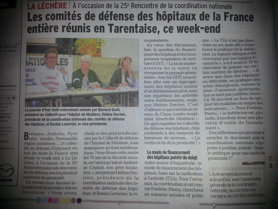 2016-05-22 - Le DL - Les comités de défense des hôpitaux de la France entière réunis en Tarentaise ce week-end