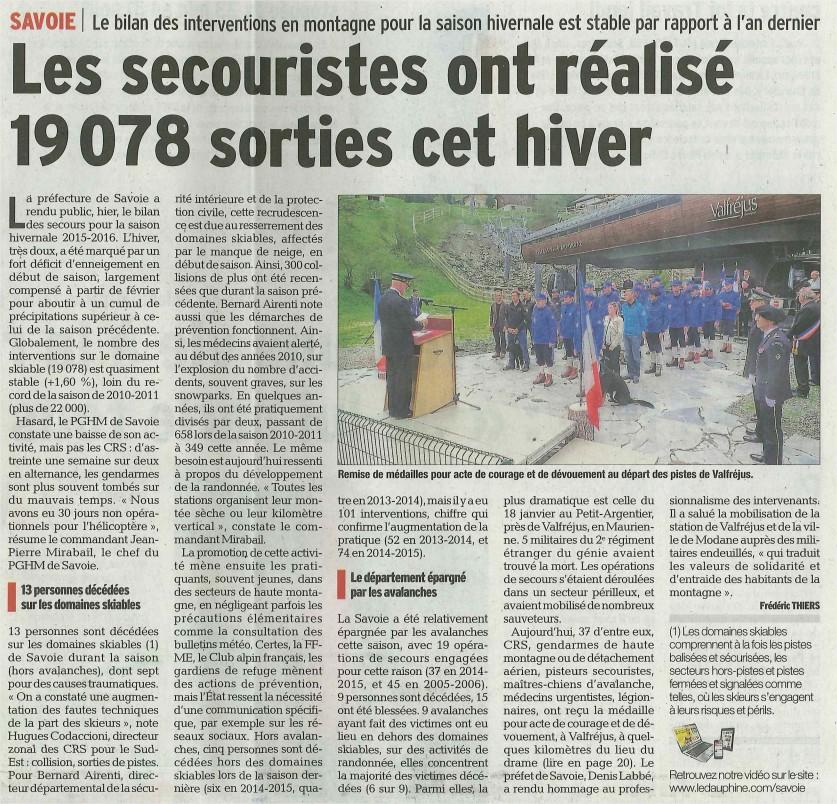 2016-05-25 - Le Dauphiné Libéré - Les secouristes ont réalisés 19078 sorties cet hiver