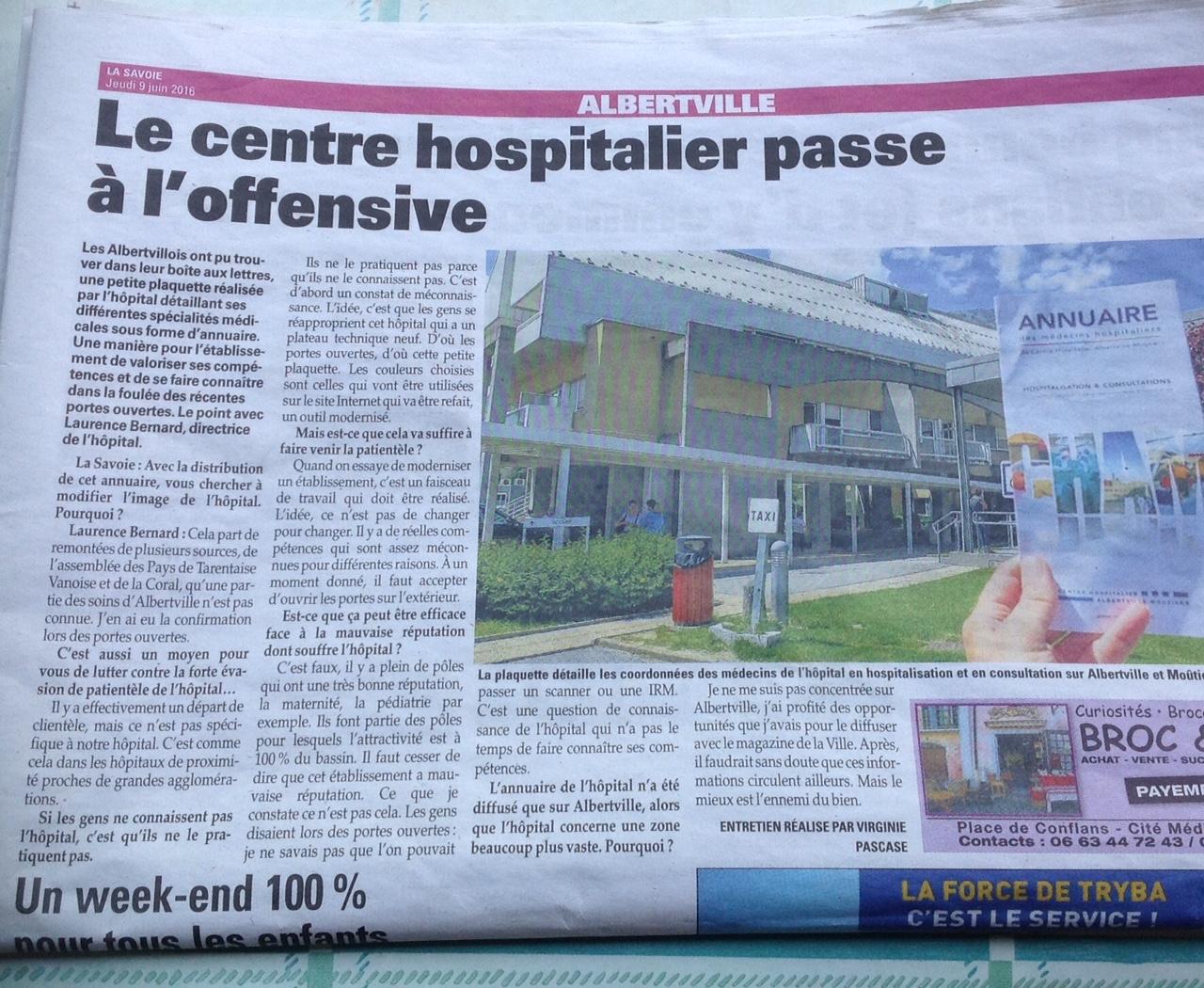 2016-06-08 - La Savoie - Le centre hospitalier passe à l'offensive
