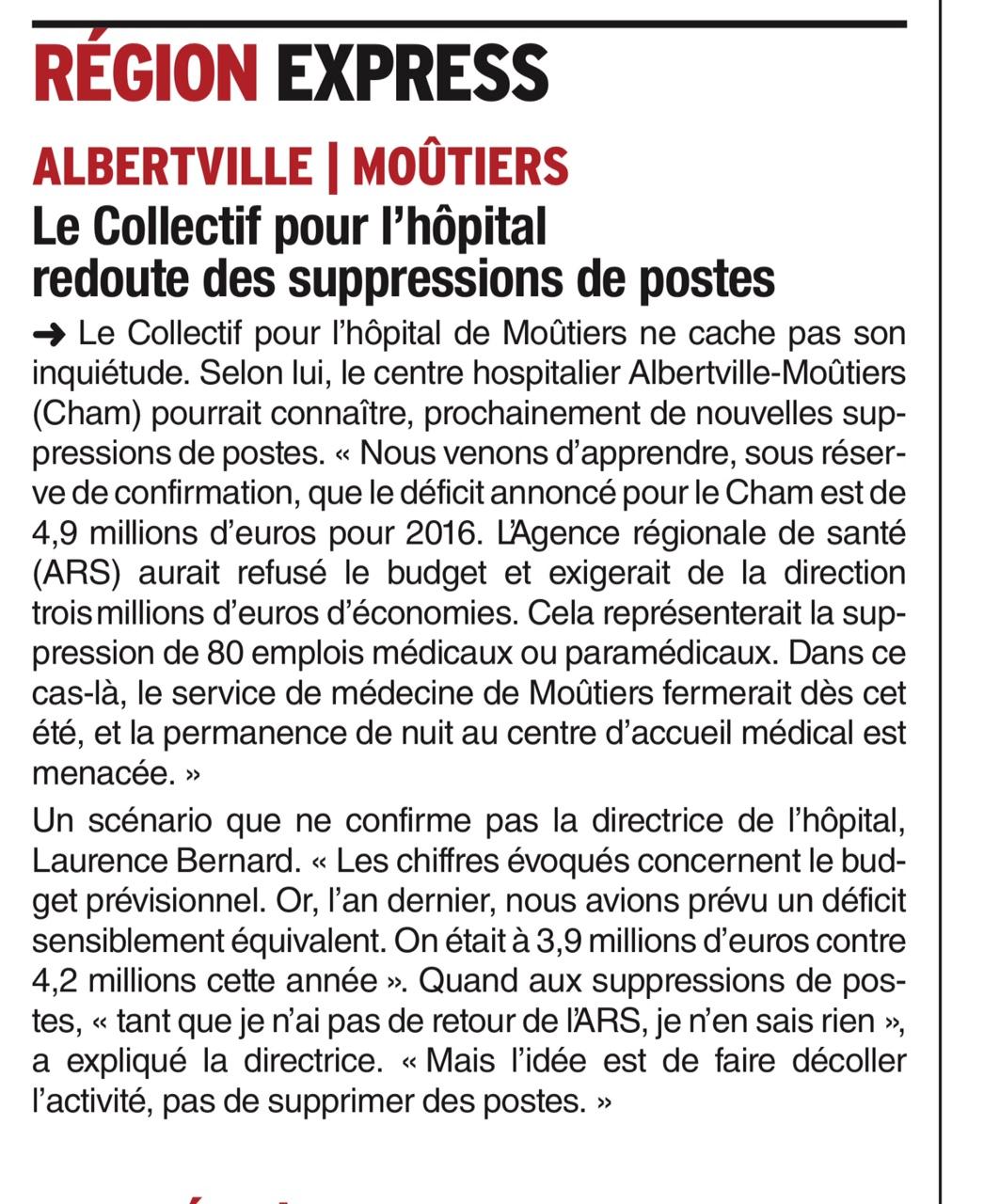 2016-06-28 - Le DL - Le Collectif pour l'Hôpital redoute des suppressions de postes