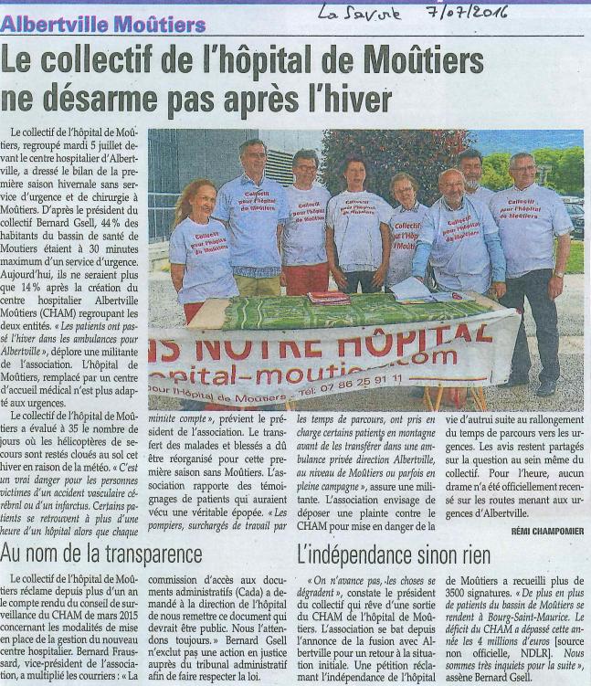 2016-07-07 - La Savoie - Le collectif de l'Hôpital de Moûtiers ne désarme pas après l'hiver