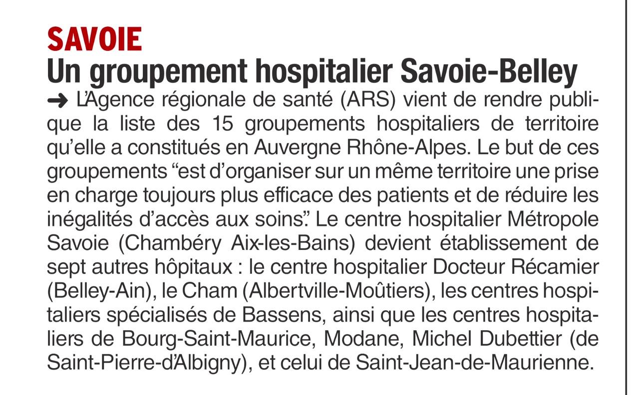 2016-07-07 - Le Dauphiné Libéré - Un groupement hospitalier Savoie-Belley