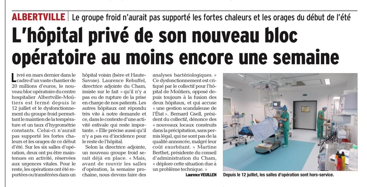 2016-07-28 - Le Dauphiné Libéré - L'hôpital privé de son nouveau bloc opératoire au moins encore une semaine