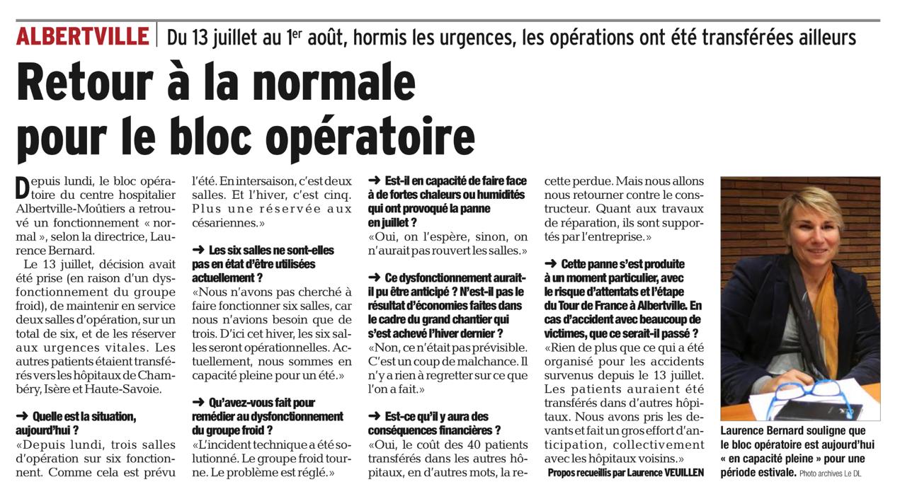 2016-08-03 - Le Dauphiné Libéré - Retour à la normale pour le bloc opératoire