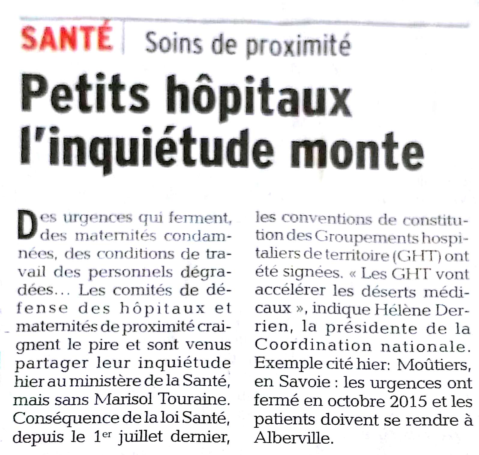 2016-08-17 - Le Dauphiné - Petits hôpitaux, l'inquiétude monte
