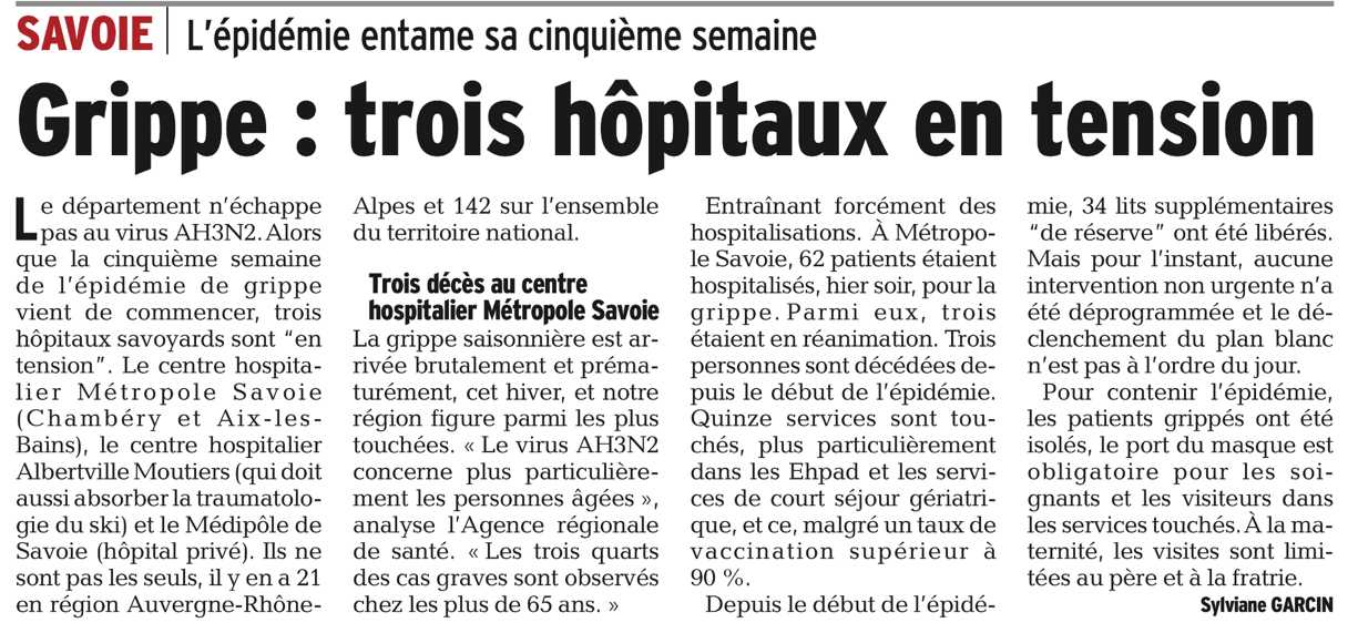 2017-01-12 - DL - Grippe - trois hôpitaux en tension