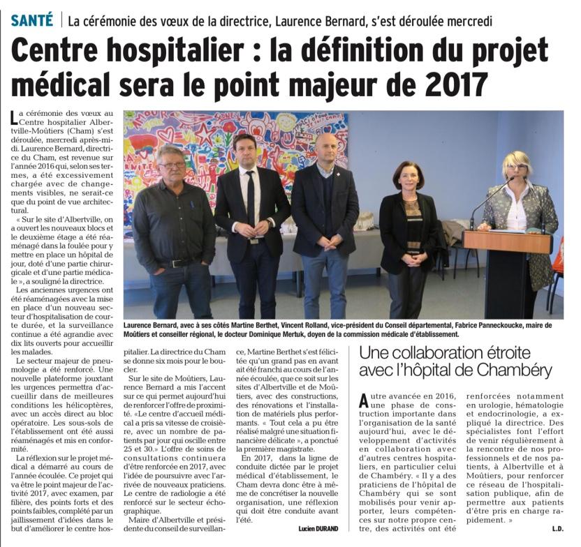 2017-01-28 - Le DL - Centre hospitalier - la définition du projet médical sera le point majeur de 2017