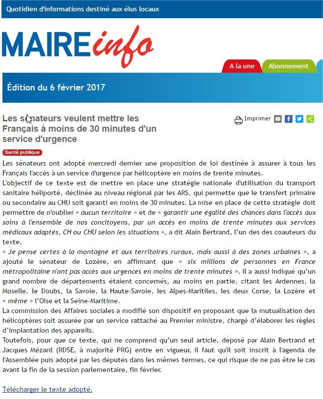 2017-02-06 - Maire-info AMF - Les sénateurs veulent mettre les Français à moins de 30 minutes d'un service d'urgence