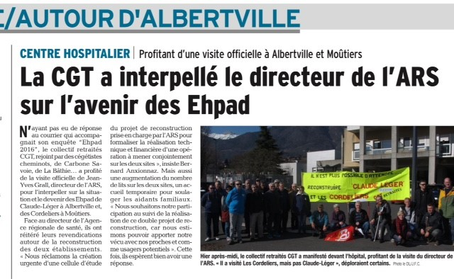 2017-02-17 - Le DL - CGT interpelle ARS EHPAD
