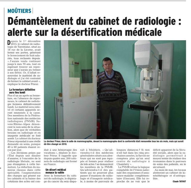 2017-03-04 - DL - Démantèlement du cabinet de radiologie - alerte sur la désertification médicale
