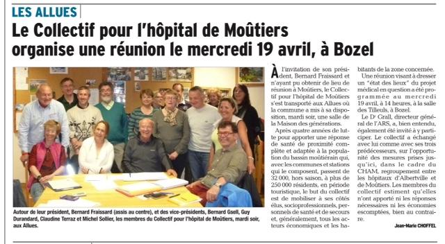 2017-04-06 - DL - Le Collectif pour l'hôpital de Moûtiers organise une réunion le mercredi 19 avril à Bozel